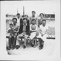 [Group portrait with boy in overalls, Rohwer, Arkansas]