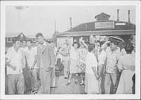 [Crowd gathered in front of Mess hall no. 2, Rohwer, Arkansas]