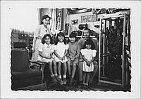 [Niiya family in room, Rohwer, Arkansas, 1942-1945]