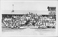 [Large group portrait of Rohwer, block 2 separation commemoration, Rohwer, Arkansas, 1942-1945]