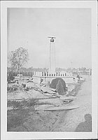 [Monument construction in Rohwer Memorial Cemetery, Rohwer, Arkansas, ca. 1944]