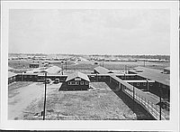 [Bird's eye view of compound with walkway, Rohwer, Arkansas, 1942-1945]