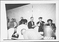 [Caucasian men and women getting food at mess hall, Rohwer, Arkansas, June 2, 1945]