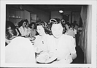 [Women getting food at mess hall, Rohwer, Arkansas, 1942-1945]