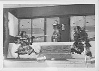 [Three warriors fighting in Kabuki play, Rohwer, Arkansas, October 21, 1944]