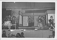 [Two warriors and young woman in Kabuki play, Rohwer, Arkansas]