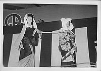 [Traveling blind musician and companion in Kabuki play, Rohwer, Arkansas, November 12, 1944]