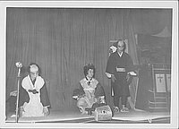 [Three actors and palanquin in Kabuki play, Rohwer, Arkansas, September 17, 1944]