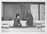 [Woman and old man talking in Kabuki play, Rohwer, Arkansas, October 21, 1944]