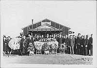 [Outdoor funeral gathering for Mitsuno Nakatsuru, Rohwer, Arkansas, December 8, 1944]