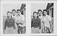 [Three young women outside barracks, three-quarter portraits, Rohwer, Arkansas, July 27, 1945]