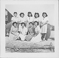 [Group of nine women, portrait, Rohwer, Arkansas]