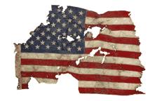 American flag recovered amid World Trade Center debris at the Fresh Kills Landfill.