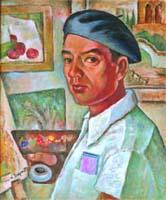 Henry Sugimoto Self Portrait in Camp, 1943.