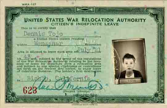 Dennis Tojo Bambauer War Relocation Authority Leave Clearance ID