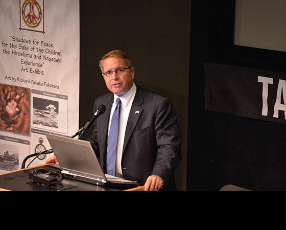 Doug Erber speaking at the Shadows for Peace program
